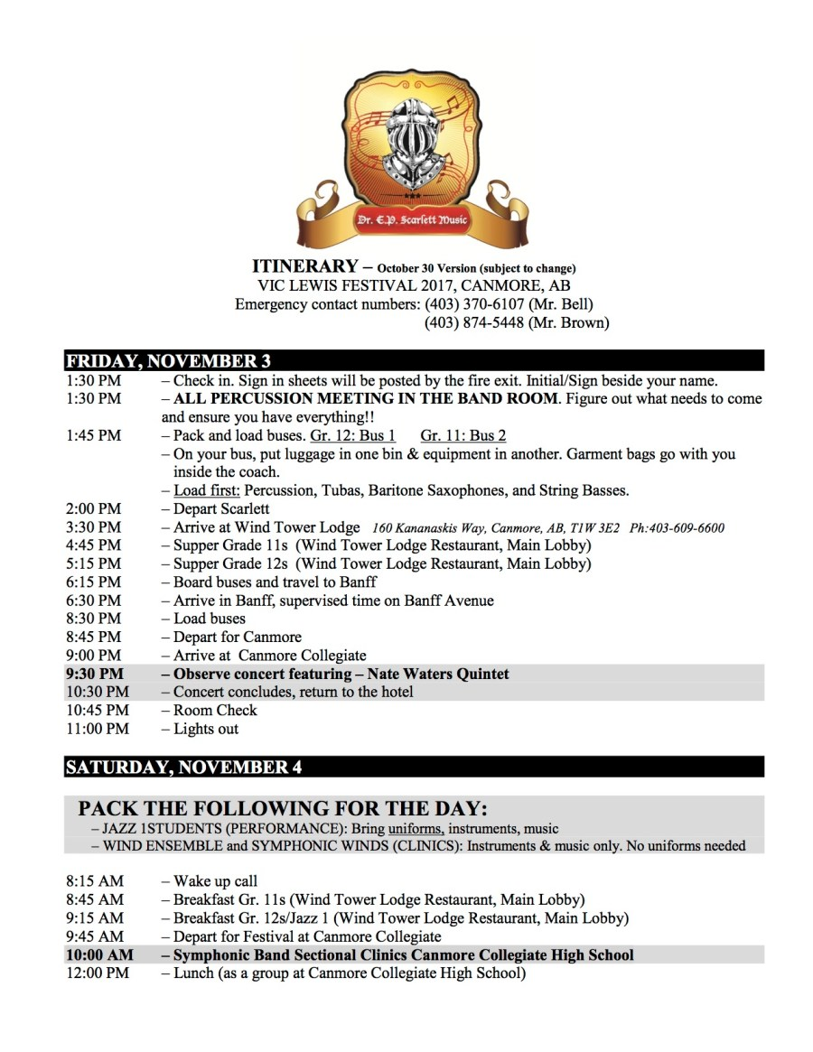 2017 VL Itinerary Oct 30th 1