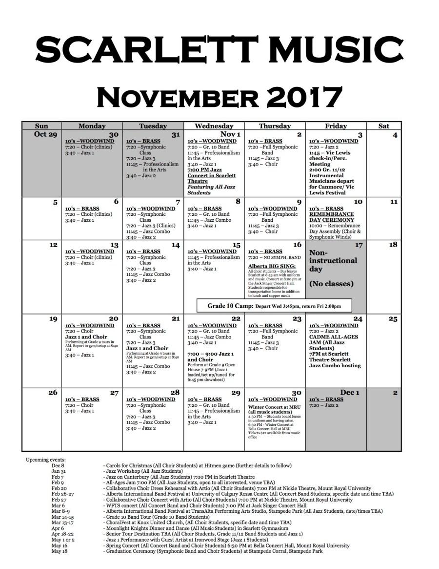 Scarlett Calendar (November, 2017)
