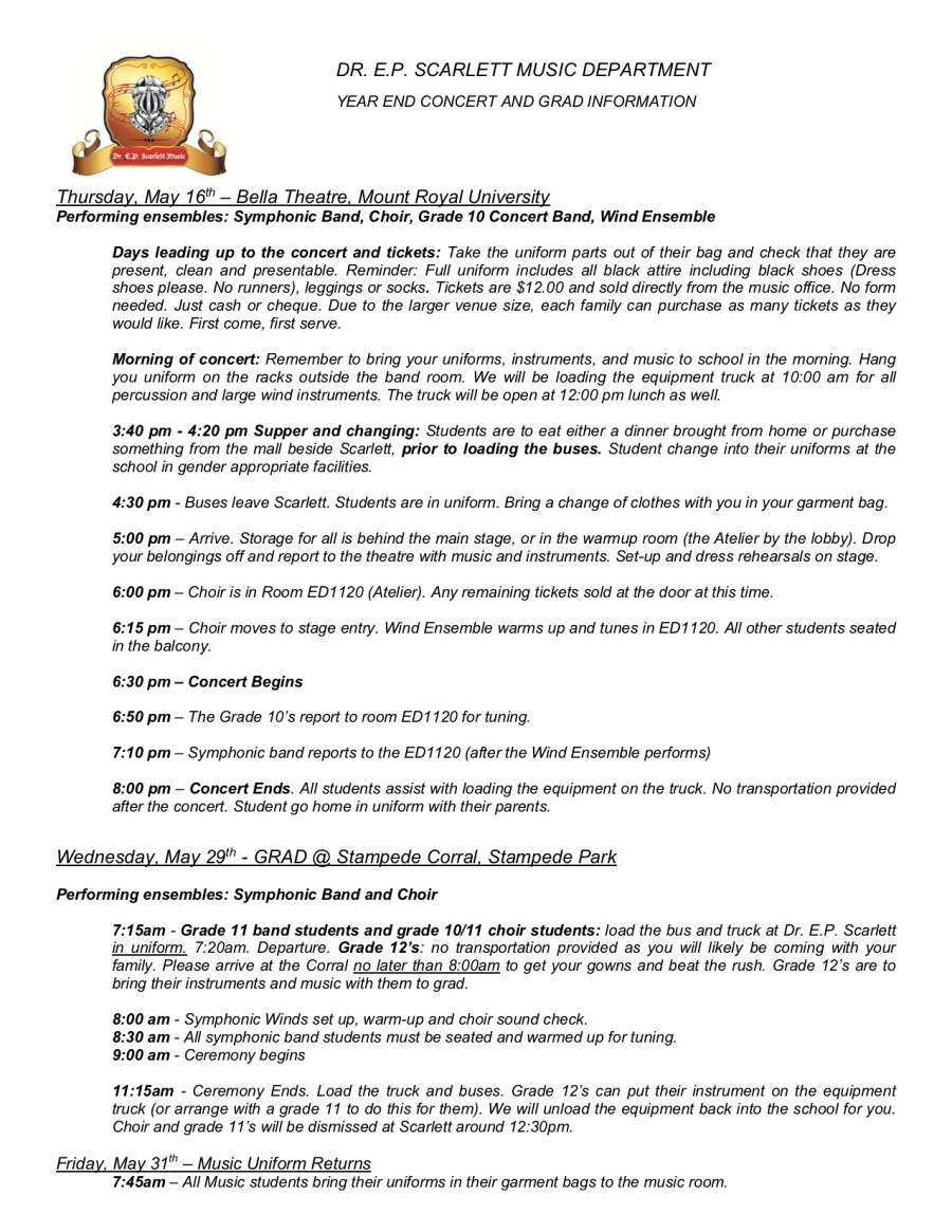 Spring Concert Instructions 2019