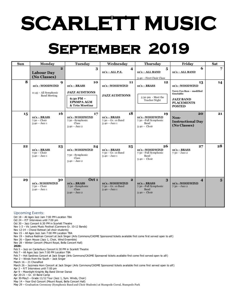 Scarlett Music Calendar Sept 2019