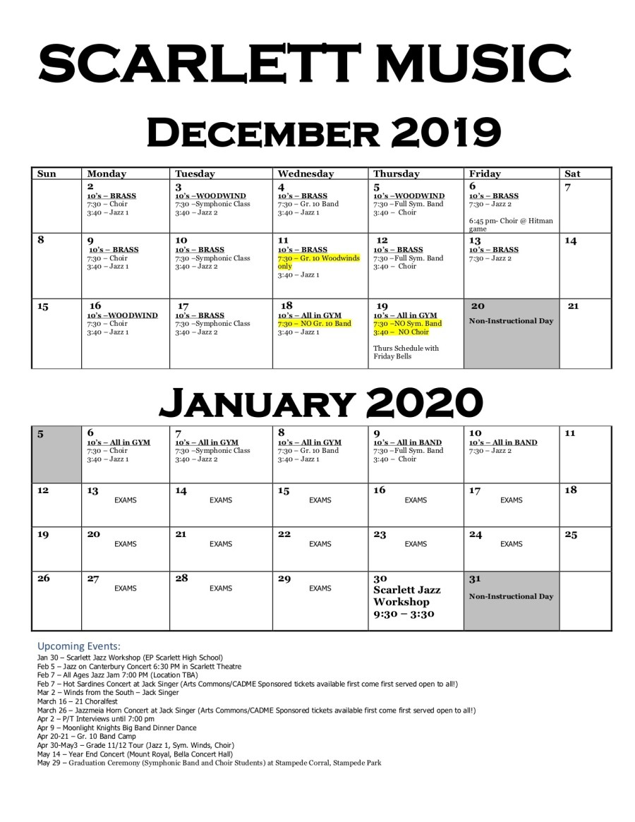 December:January Music Calendar
