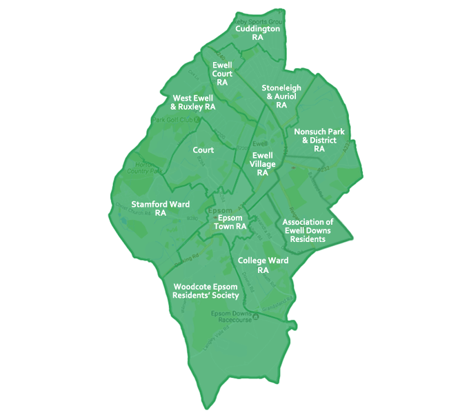 Residents' Associations of Epsom and Ewell map boundaries