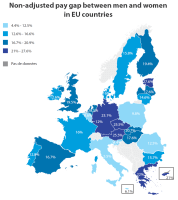 Non-adjusted pay gap between men and women in EU countries