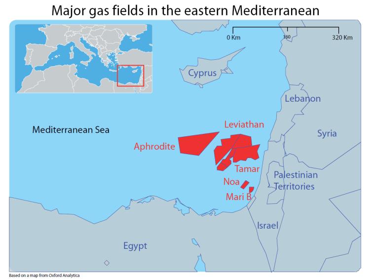 Major gas fields in the eastern Mediterranean