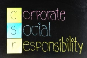 Corporate social responsibility ( CSR ) concept on chalkboard