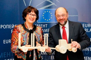 Martin SCHULZ EP president meets with MEP Sandra KALNIETE