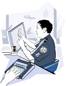 Passport check control at the airport