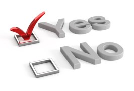 Yes and no check boxes with check mark in the Yes
