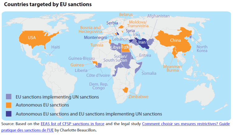 Countries targeted by EU sanctions
