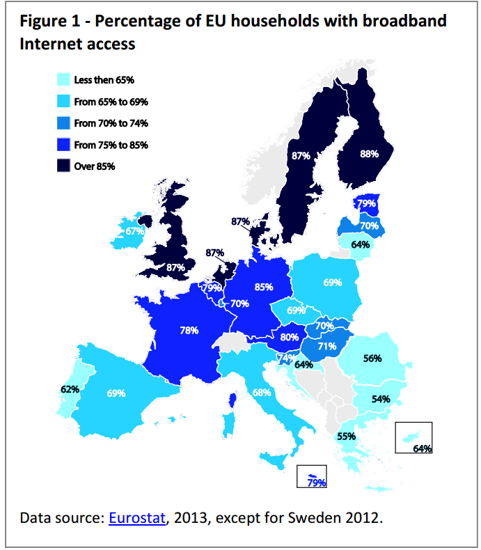 Percentage of EU households with broadband Internet access