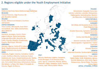 Regions eligible under the Youth Employment Initiative
