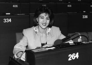 MEP Nora MEBRAK-ZAIDI attends a plenary session in December 1991