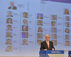 Jean-Claude Juncker, in front of an organisation chart with the Commissioners-designate