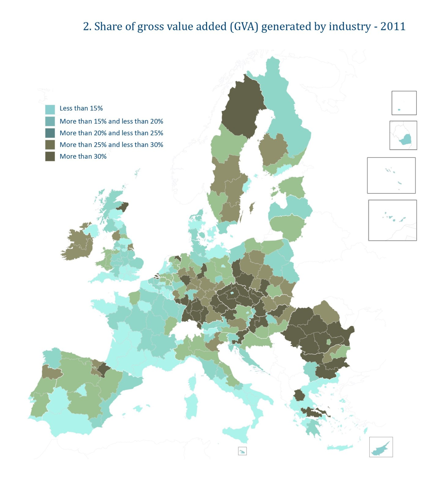 Share of gross value added (GVA) generated by industry - 2011