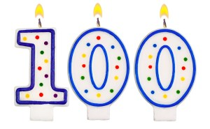 Birthday candles number one hundred