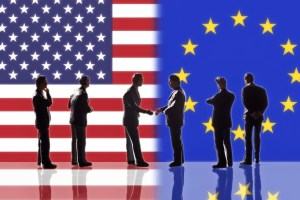 USA and EU flag behind people (TTIP)