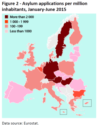 Asylum applications per million inhabitants, January-June 2015