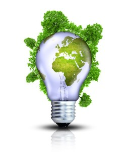 Bulb with a green world map
