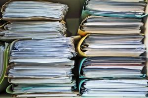 Paper documents in folders