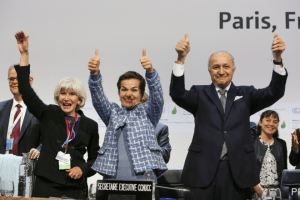 Celebrating agreement at the Paris Climate Summit