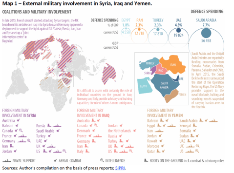 Map 1 – External military involvement in Syria, Iraq and Yemen.