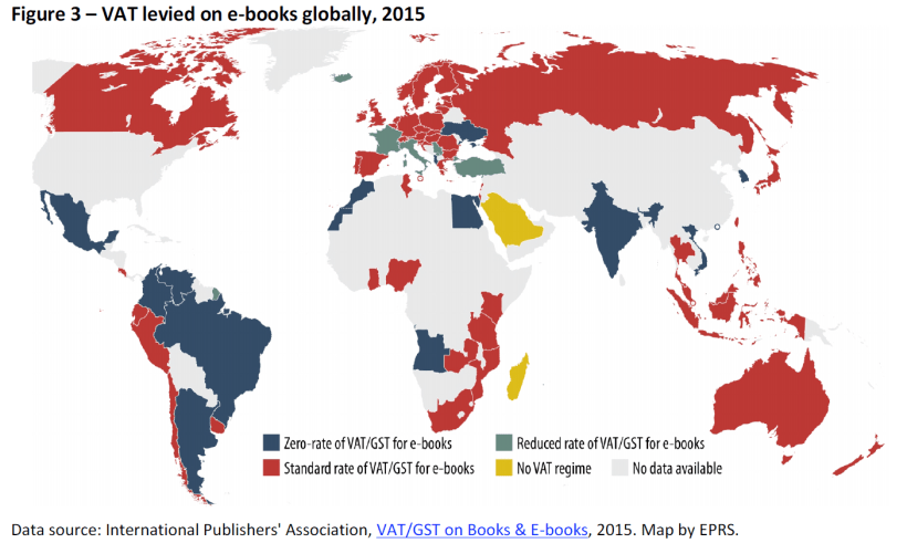VAT levied on e-books globally, 2015