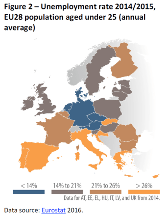 Unemployment rate 2014-2015, EU28 population aged under 25 (annual average)