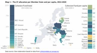 The Cohesion Fund allocation per Member State and per capita, 2014-2020