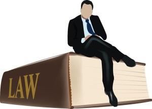 A man sitting on a law book