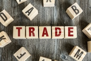Wooden Blocks with the text: Trade