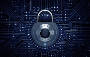 Cyber Security. Combination padlock in electronic cyberspace. 3D rendered image.