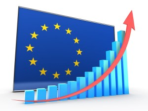 3d illustration of blue graph over EU flag background with rising arrow