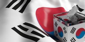 Glass ballot box on South Korea flag background, 3d illustration