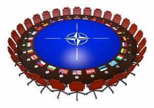 NATO round table 3d on white background