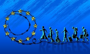 Refugees are going on the road with barbed wire and the EU stars. The concept of illegal immigration.
