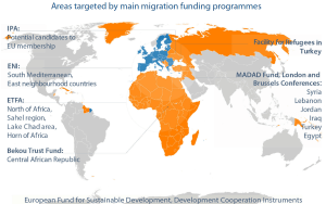 Areas targeted by main migration funding programmes