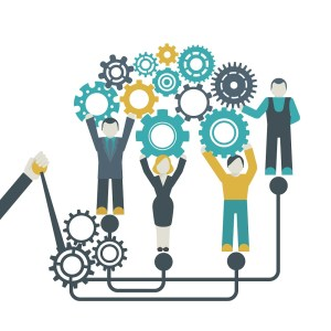 Teamwork company organization concept with people holding cog wheels illustration