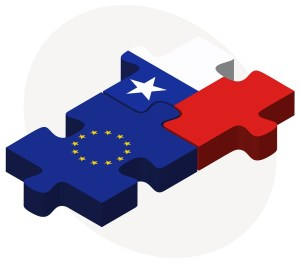 Vector Image - European Union and Chile Flags in puzzle isolated on white background