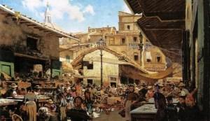 """Telemaco Signorini, """"Mercato Vecchio a Firenze"""""""