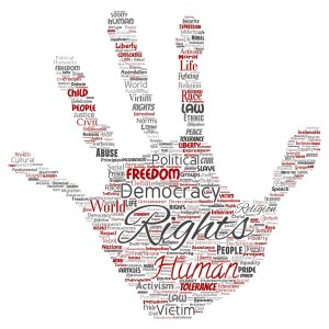 Vector conceptual human rights political freedom, democracy hand print stamp word cloud isolated background. Collage of humanity tolerance, law principles, people justice or discrimination concept