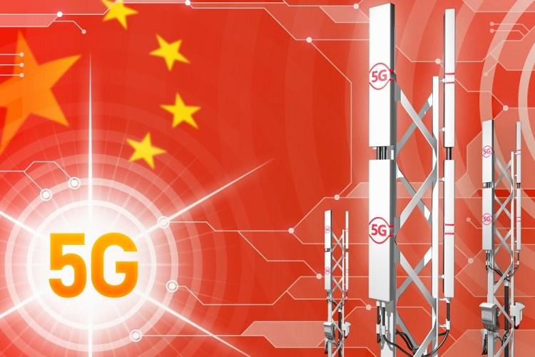 China 5G network industrial illustration, big cellular tower or mast on digital background with the flag - 3D Illustration