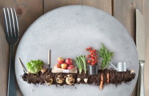 Organic fruits and vegetables garden on a kitchen plate