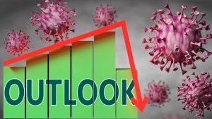 Outlook and Covid-19 virus, symbolized by viruses and a price chart falling down with word Outlook to picture relation between the virus and Outlook, 3d illustration