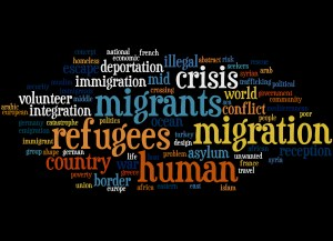 Migrant and Refugee, word cloud concept on black background.