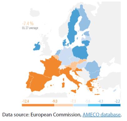 Figure 1 – Change in gross domestic product in 2020, EU-27