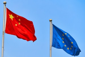 Chinese and European Union flags