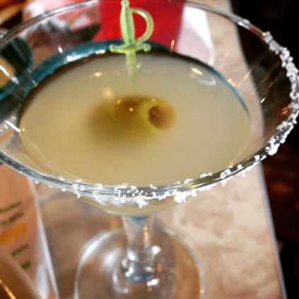 Texas Martini: Green chile-infused El Jimador silver tequila w/a jalapeno-stuffed olive.