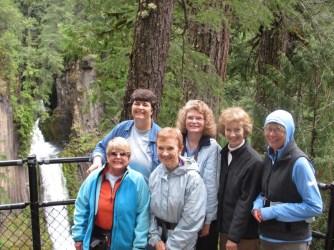 Sharyn, Nancy, Gerene, Elaine, Linda, & Martha at Toketee Falls