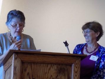 Carolyn Stieber, program coordinator, welcomes new Board secretary, Janie Monnette.