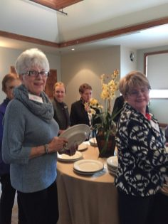 Wilma Hamilton and Sharyn Close ready to enjoy their lunch.